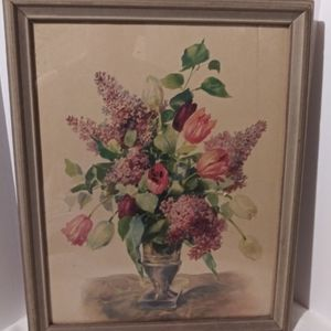 Vintage floral framed wall picture